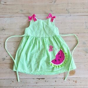 Rare Editions Watermelon Gingham Dress